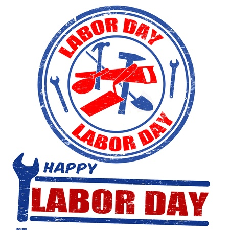 Set of labor day grunge rubber stamps