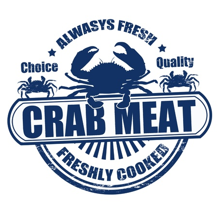 Grunge rubber stamp with the text crab meat written inside Vector