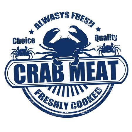 negocios comida: Grunge sello de goma con la carne de cangrejo de texto escrito en su interior