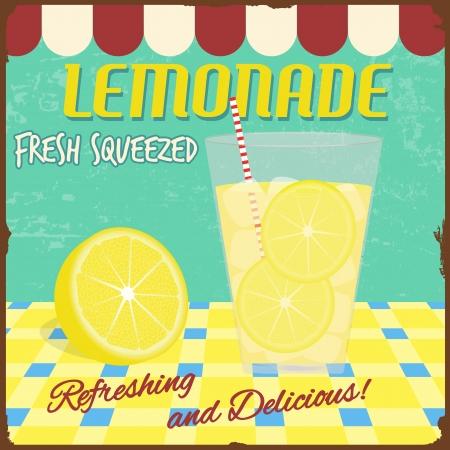 lemon slices: Lemonade poster in vintage style