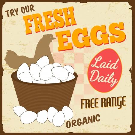 imperfections: Fresh eggs vintage retro grunge poster Illustration