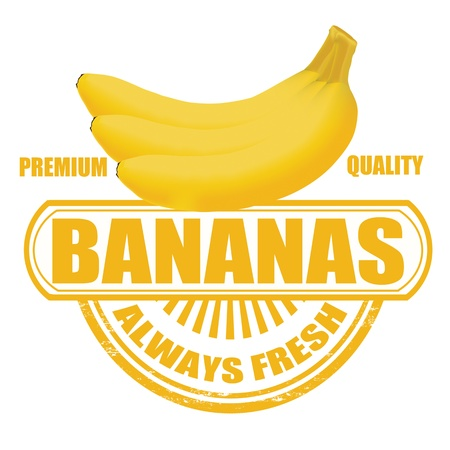 eating banana: Grunge rubber stamp with bananas and the text bananas written inside  Illustration