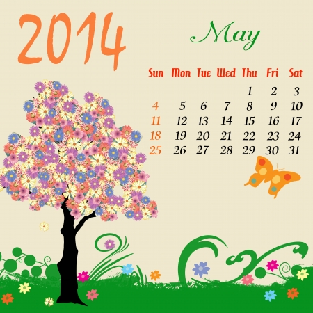 Calendar for 2014 May with flowering tree and  butterfly Stock Vector - 19215213