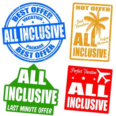 reise retro: All-Inclusive-Grunge Stempel Illustration