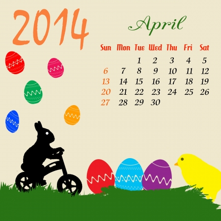 Calendar For 2014 April With Easter Theme Royalty Free Cliparts