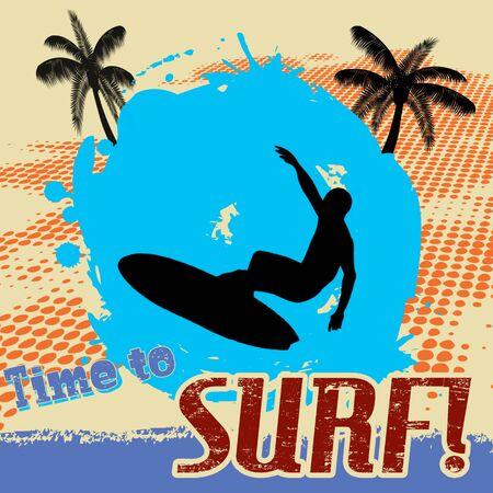 tabla de surf: Tiempo para navegar cartel grunge Vectores