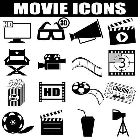 Movie icons set on white background