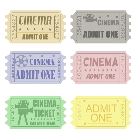 Set of cinema tickets in different colors and styles Vector