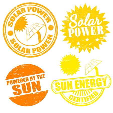 Set of solar power energy stamps  Vector