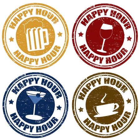 beer pint: Ajuste de la hora feliz grunge sellos de goma, ilustraci�n vectorial