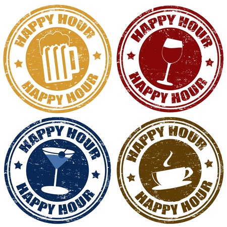 liquor: Set of happy hour grunge rubber stamps,vector illustration Illustration