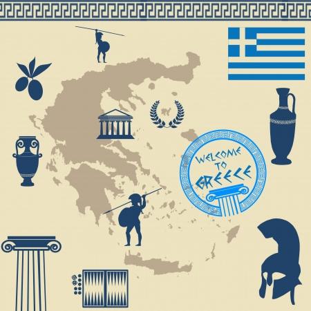 vasi greci: Simboli greci sulla mappa della Grecia su vecchio stile di sfondo, illustrazione vettoriale