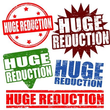 Set of huge reduction grunge rubber stamps, vector illustration