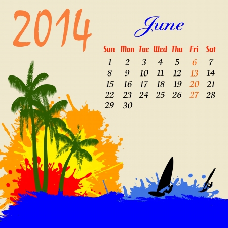 Calendar for 2014 June with palm trees and windsurfers silhouette, vector illustration Vector
