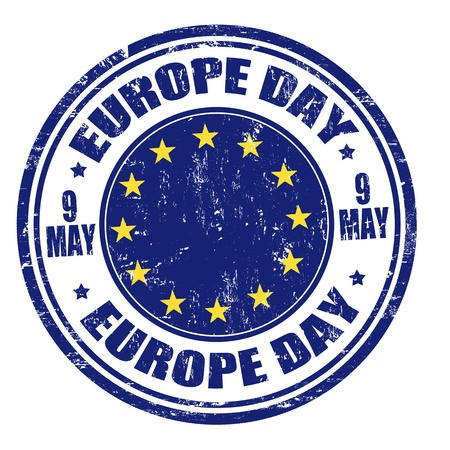 9th: Grunge Europe day rubber stamp, vector illustration