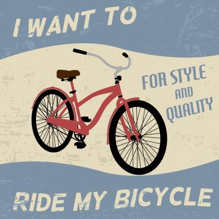bicicleta retro: Cartel de la bicicleta vintage grunge, ilustración vectorial Vectores