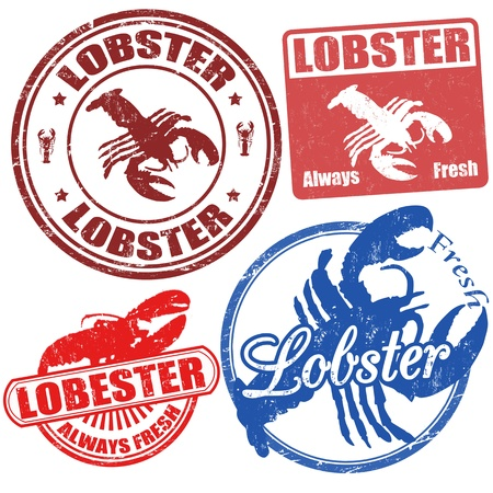 Set of lobster grunge stamps, vector illustration Vector
