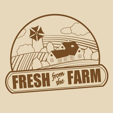 old farm: Fresh from the farm stamp on retro background illustration Illustration
