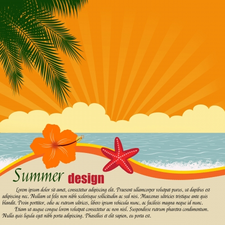 ocean sunset: Summer design poster with space for your text illustration