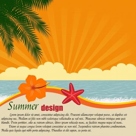 hawai: Verano del dise�o del cartel con el espacio para el texto Ilustraci�n