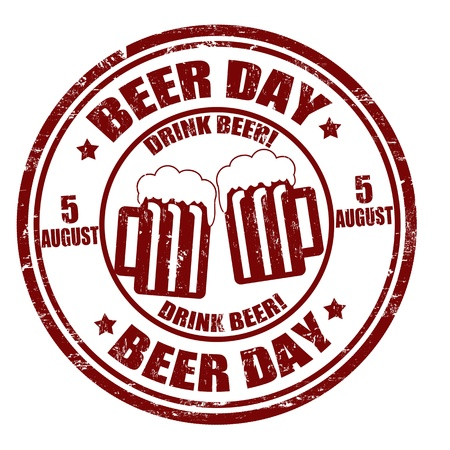 aug: Grunge beer day rubber stamp illustration Illustration
