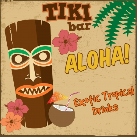 tiki party: Tiki bar vintage grunge poster, vector illustration Illustration