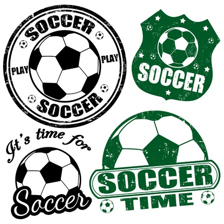 football kick: Set of soccer grunge rubber stamps illustration