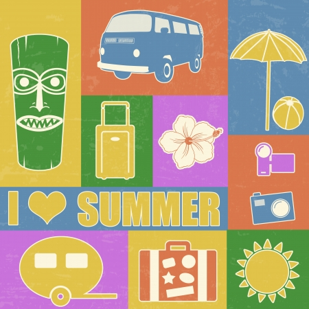 beach bag: Vintage summer poster made from icons Illustration