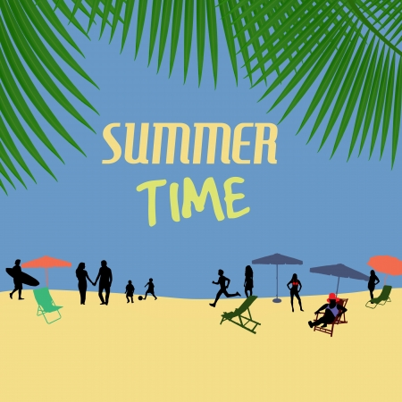 Summer time poster with people silhouette on the beach Vector