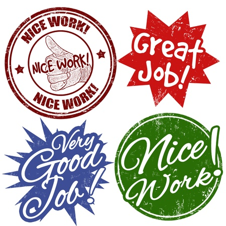 great seal: Set of grunge office rubber stamps with work award Illustration