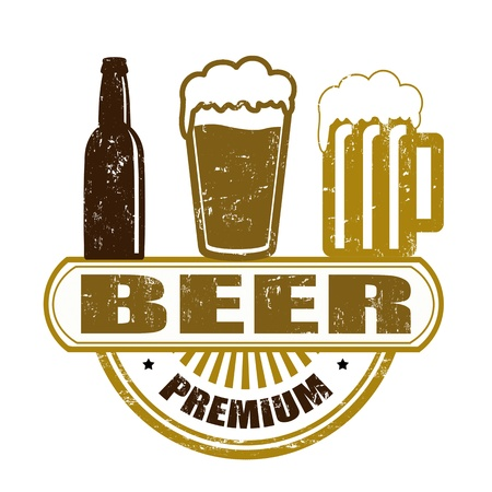 grunge bottle: Premium beer grunge rubber stamp on white Illustration