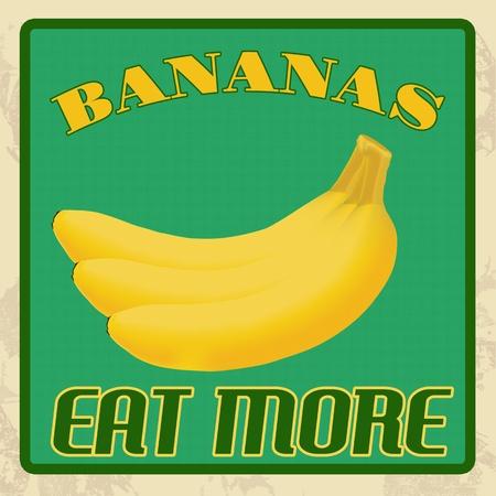 old fashioned vegetables: Bananas vintage grunge poster, vector illustration Illustration