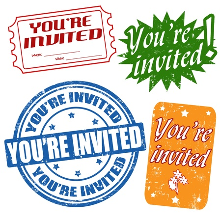 invited: Set of grunge office rubber stamps with  text youre invited, vector illustration