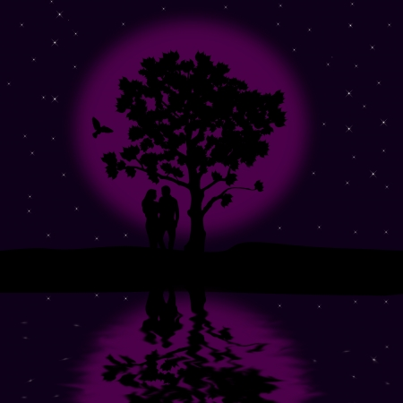 The loving couple on the beautiful night, background illustration Stock Vector - 19589268