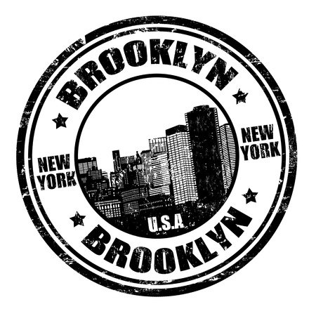 old new york: Black grunge rubber stamp with the name of Brooklyn written inside, vector illustration Illustration