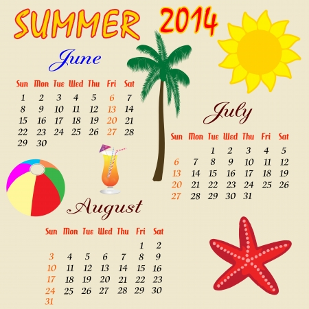 Summer calendar for 2014, vector illustration Vector