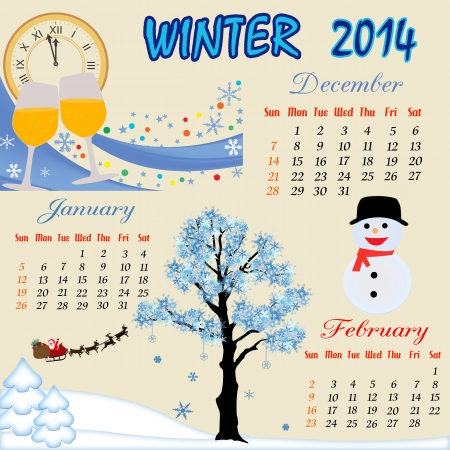 Winter calendar for 2014, vector illustration Vector