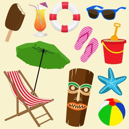 Beach icon set on vintage background, vector illustration