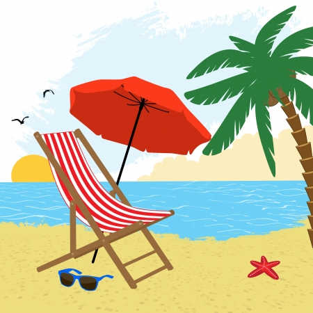 Chair and umbrella on the beach with palm tree, vector illustration Vector