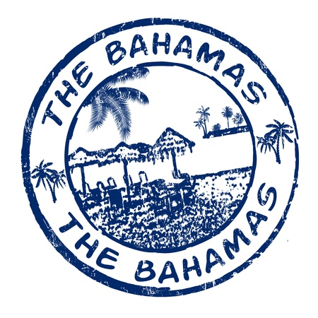stamp vector: Blue grunge rubber stamp with the name of The Bahamas islands written inside, vector illustration Illustration