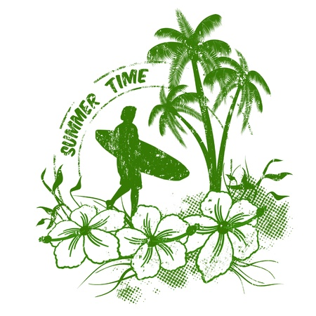 Summer time stamp with surfer on grunge  background, illustration