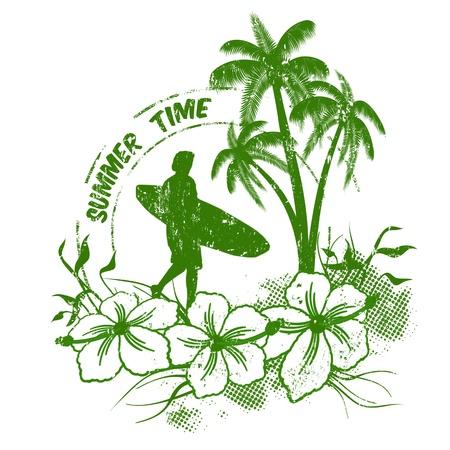surfboards: Summer time stamp with surfer on grunge  background, illustration