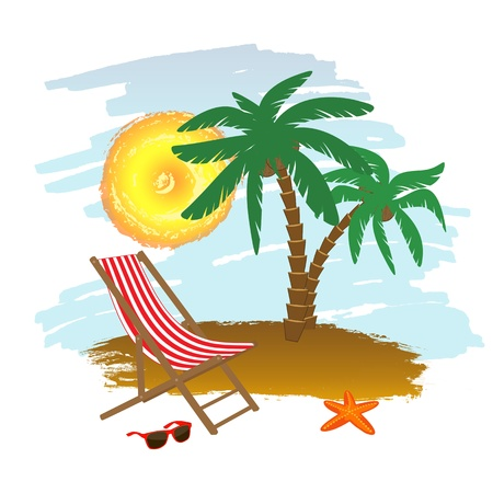 chaise longue: Tropical background with chaise longue and palm trees, illustration