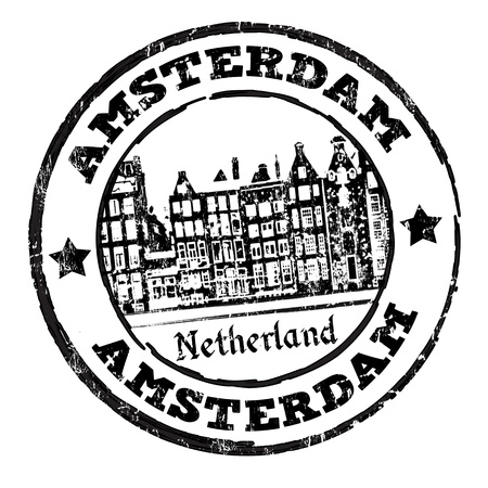 dutch: Black grunge rubber stamp with old houses and the word Amsterdam written inside, illustration