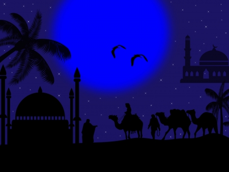 Beautiful camel caravan silhouettes with mosque and blue moon background Vector