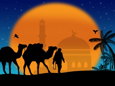 berber: Camels in Sahara with bedouins and mosque on sunset