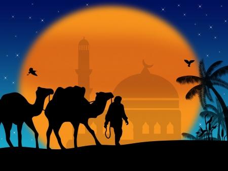 Chameaux dans le Sahara avec les Bédouins et la mosquée au coucher du soleil