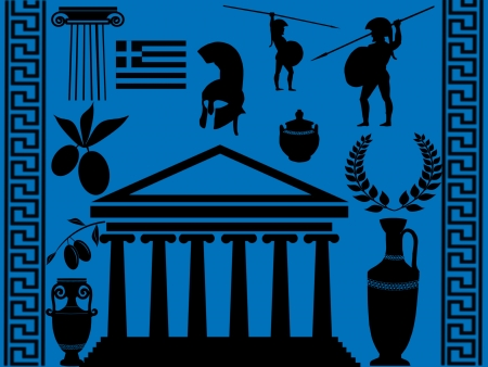 Traditional symbols of Greece on blue background, illustration Vector