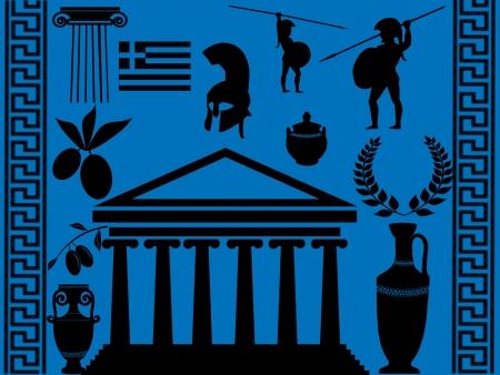 Traditional symbols of Greece on blue background, illustration Vector