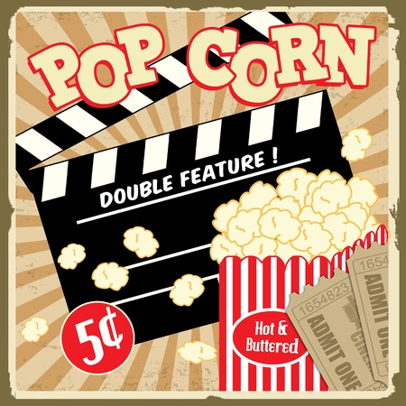 Popcorn with clapper board and movie tickets on vintage grunge poster, illustration Illustration
